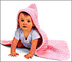 Lion Brand Yarn Hooded Baby Blanket