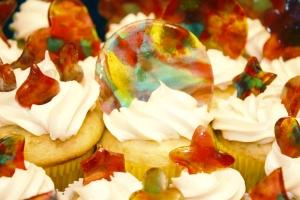 Tie Dye Cupcakes Closeup